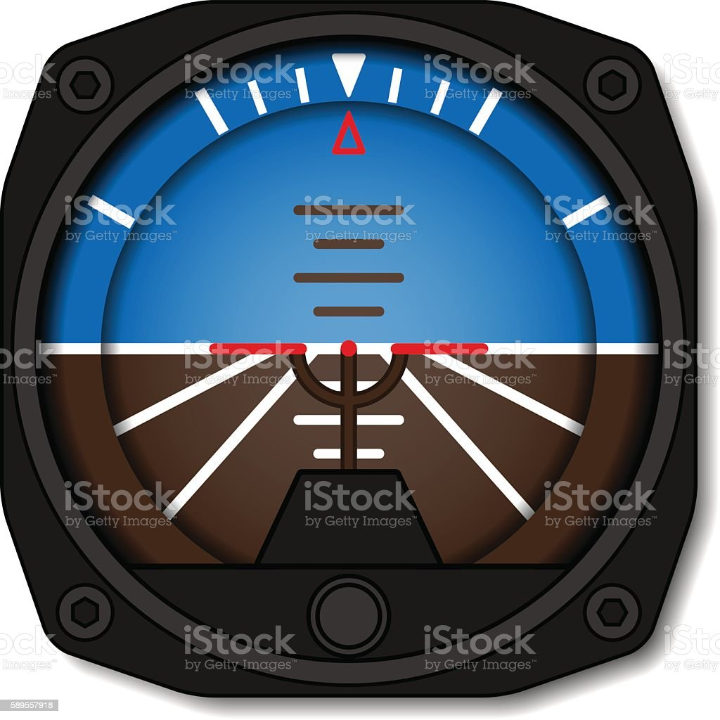 aviation airplane attitude indicator - artificial gyroscope horizon vector art illustration