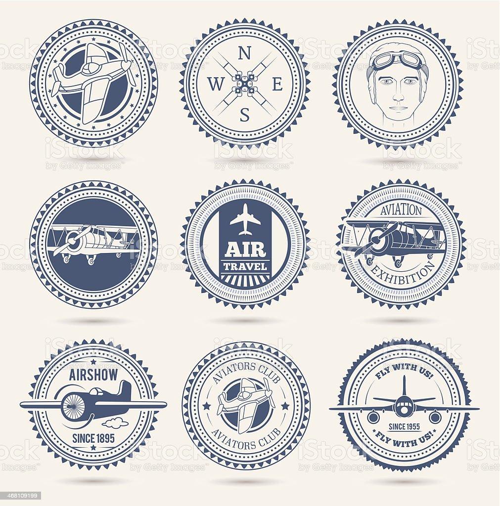 Aviation badges vector art illustration