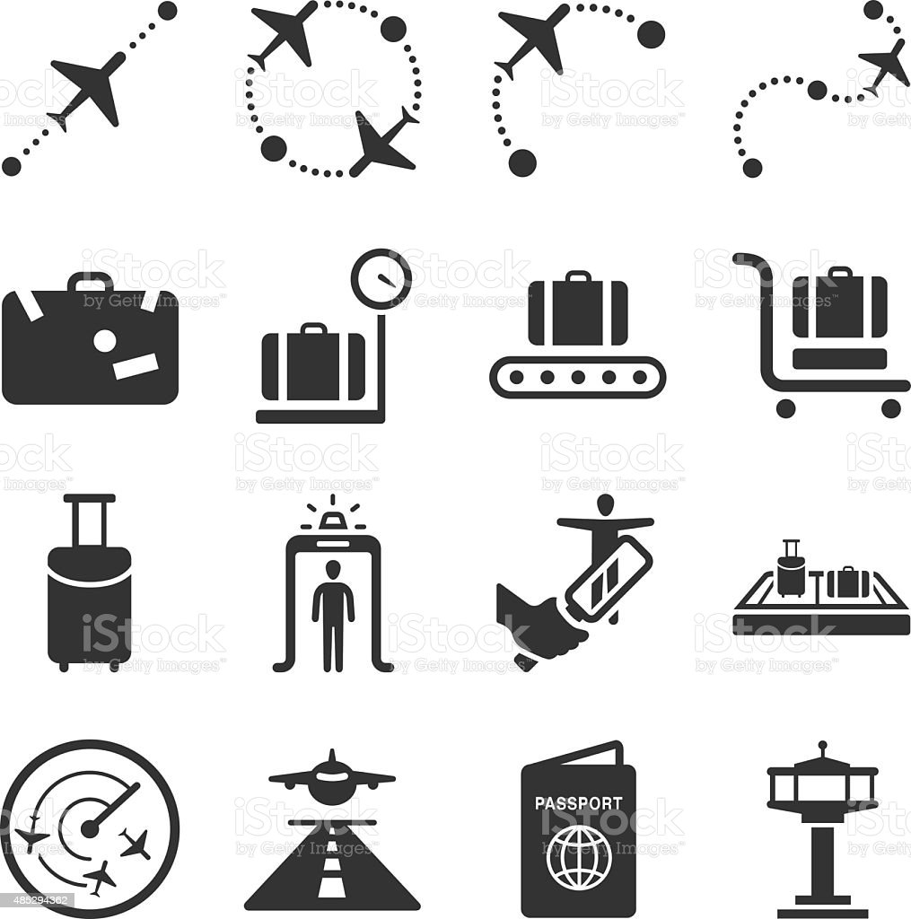 Aviation icons set 1 vector art illustration