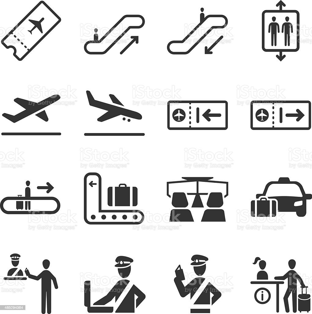 Aviation icons set 2 vector art illustration