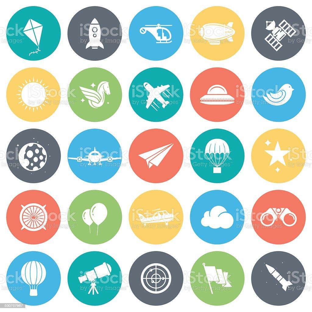 Aviation Icons vector art illustration