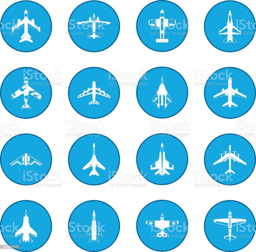 Aviation set icon blue vector art illustration