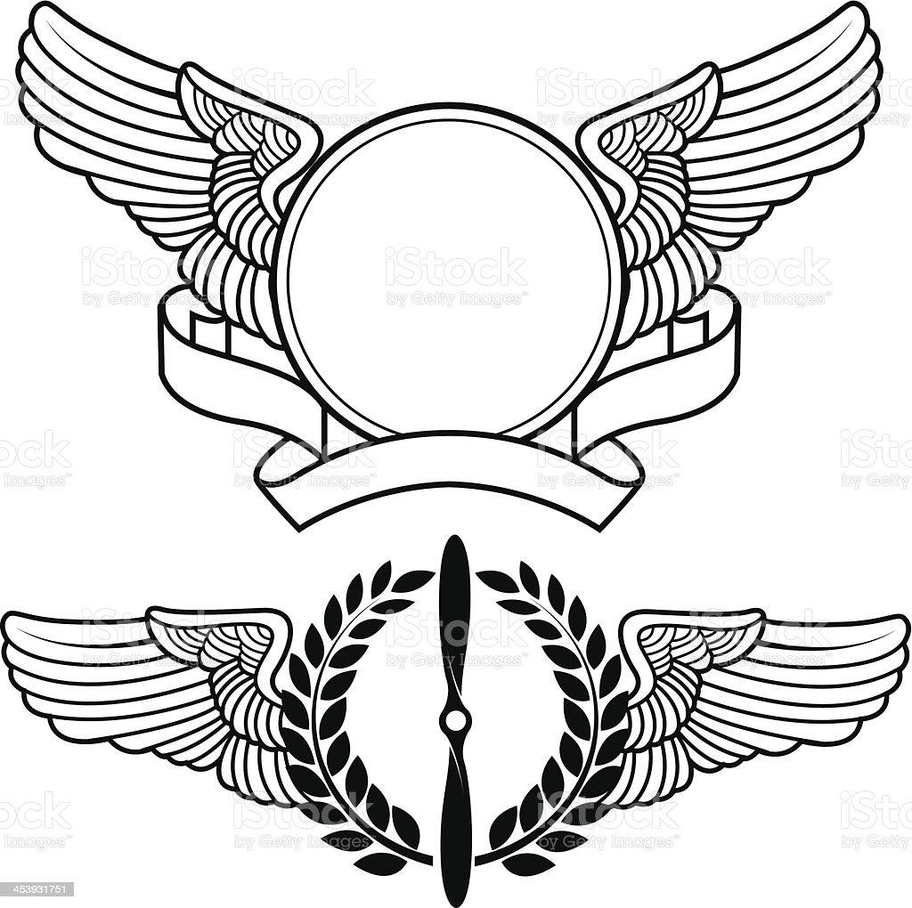 Aviation symbols vector art illustration
