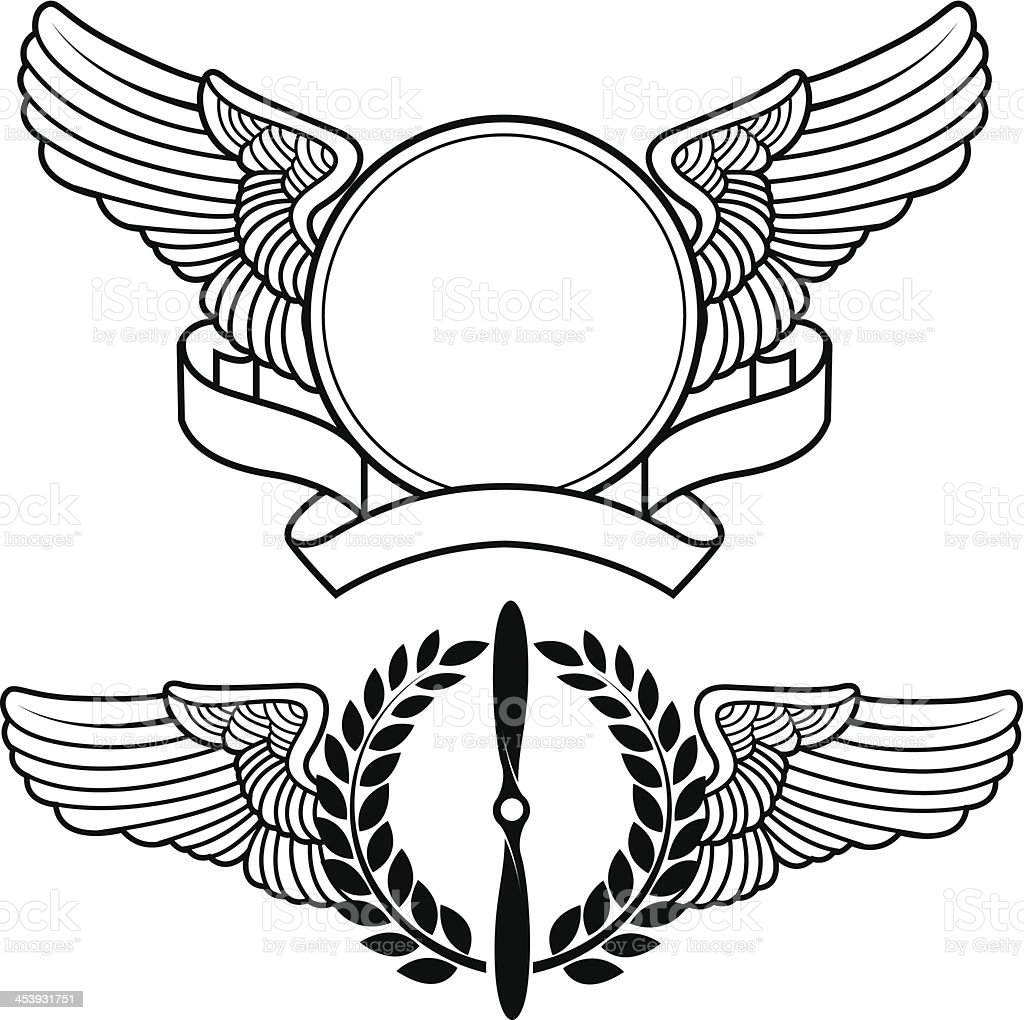 Aviation symbols vector art illustration