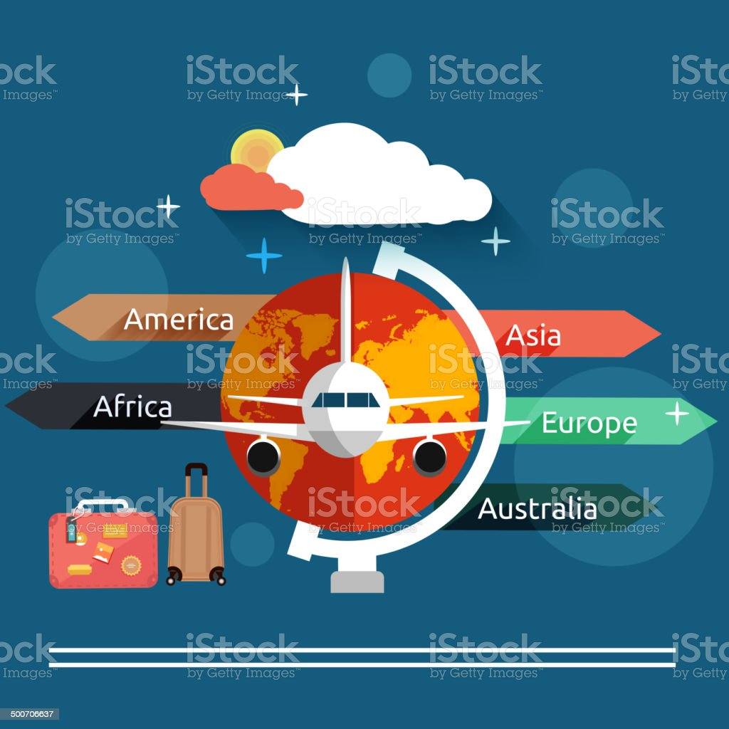 Aviator concept in flat design vector art illustration