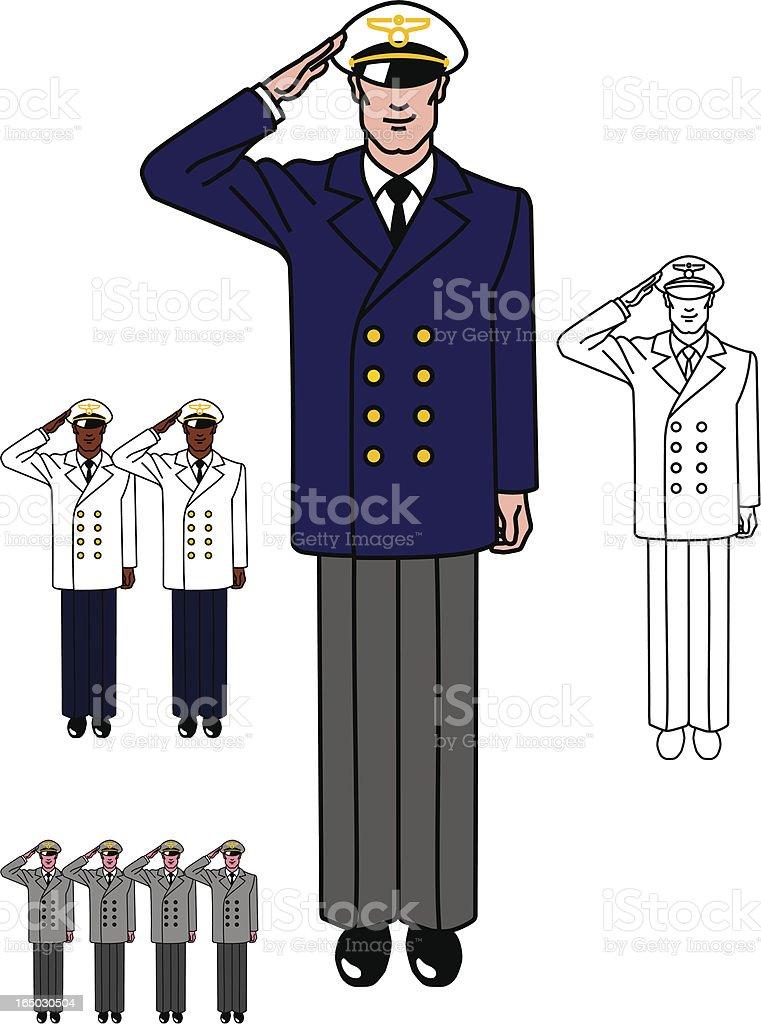 Aviator in uniform royalty-free stock vector art