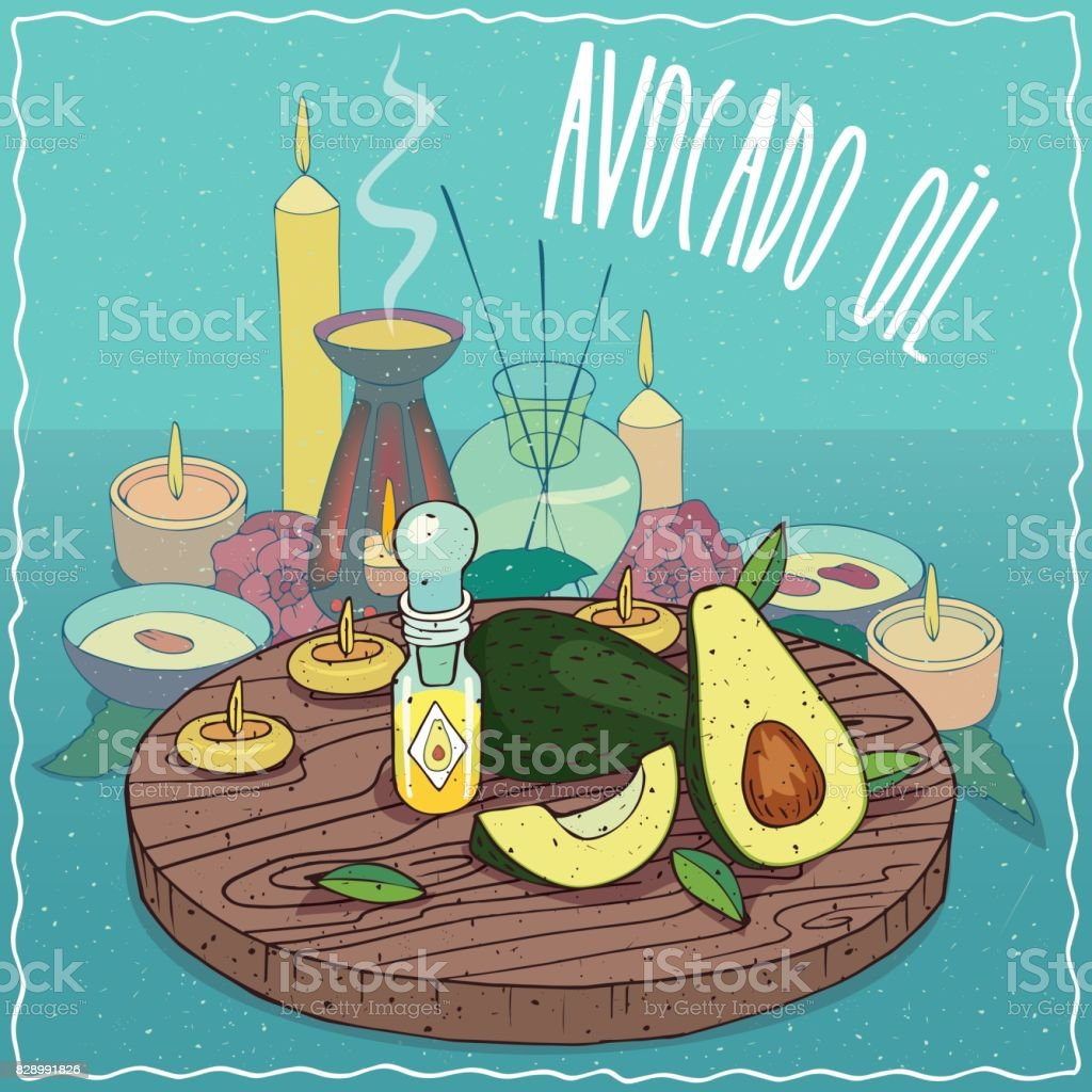 Avocado oil used for aromatherapy vector art illustration