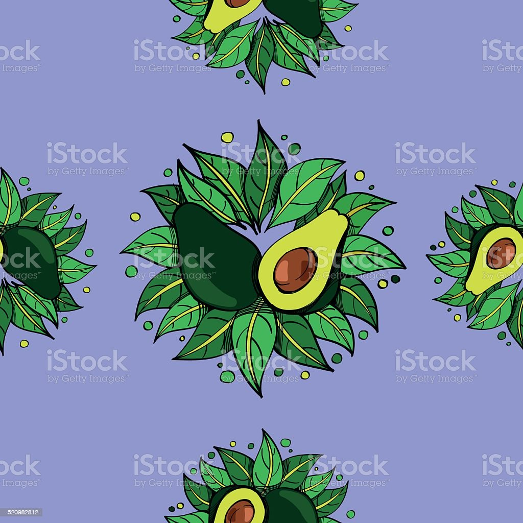 Avocado on a purple background seamless pattern. vector art illustration