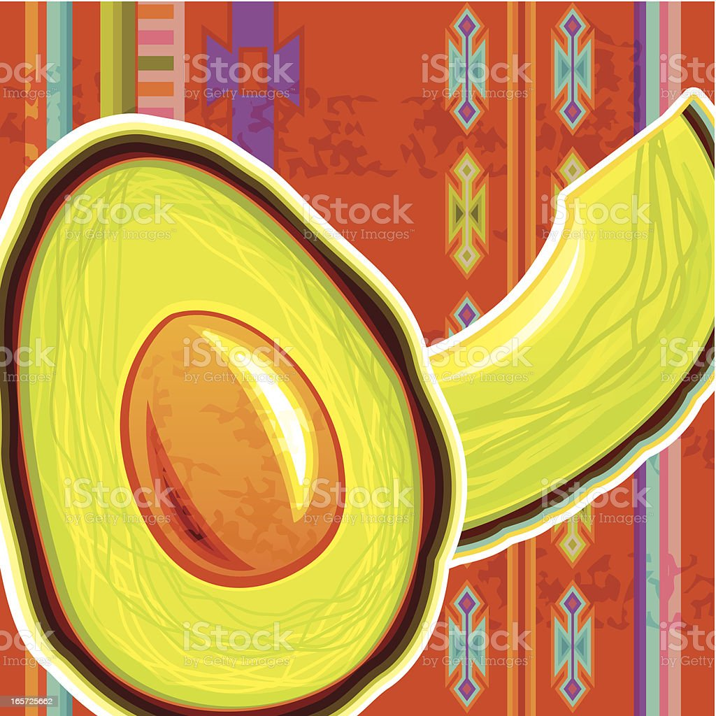 Avocado on Traditional Mexican Background vector art illustration