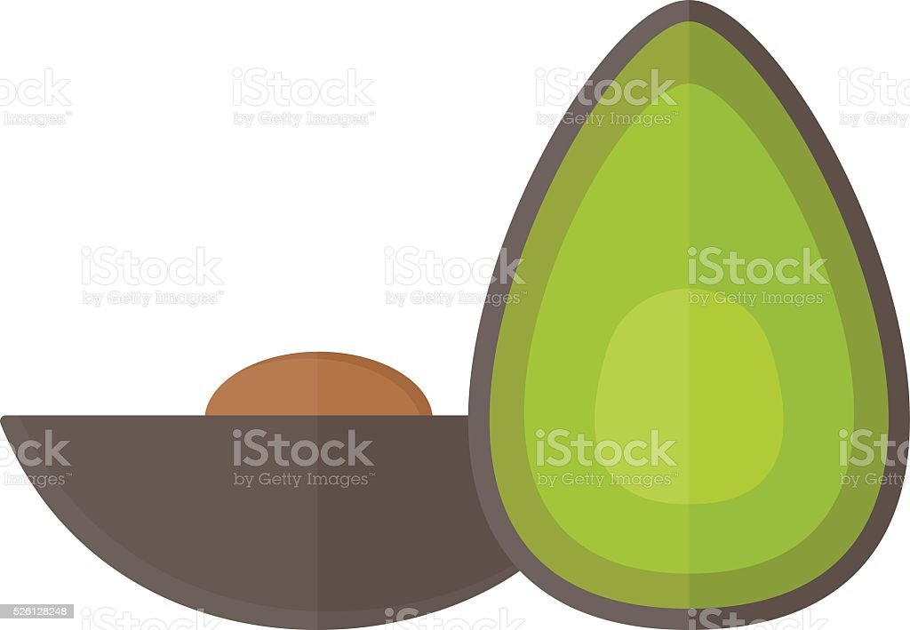 Avocado pieces set isolated on white background design element organic vector art illustration
