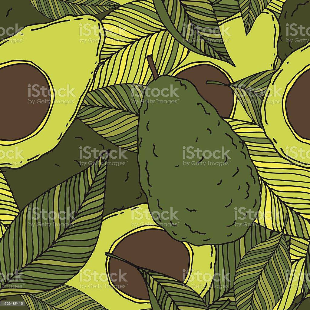Avocado seamless pattern, sketch vector art illustration