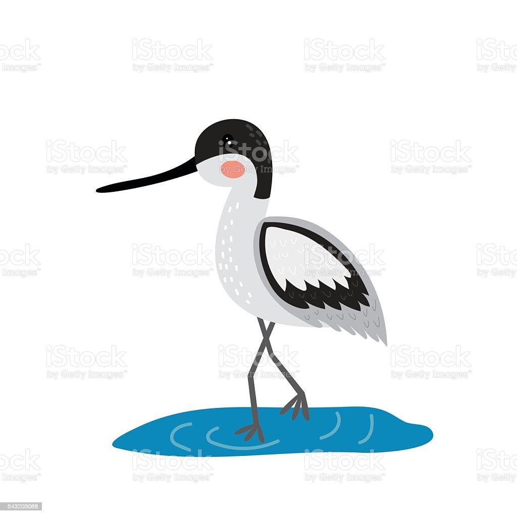 Avocet standing in water cartoon character. vector art illustration