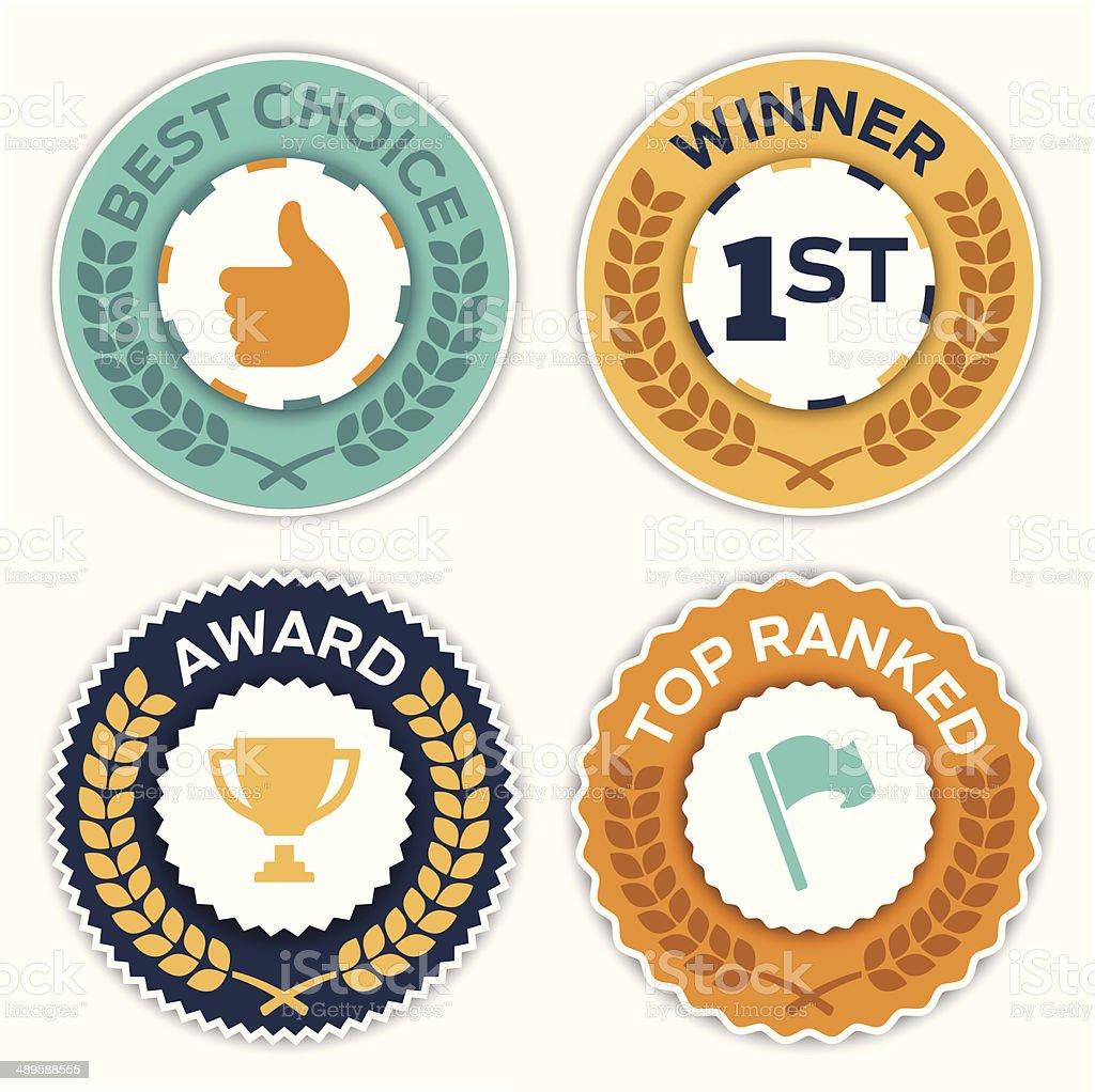 Award Badges vector art illustration