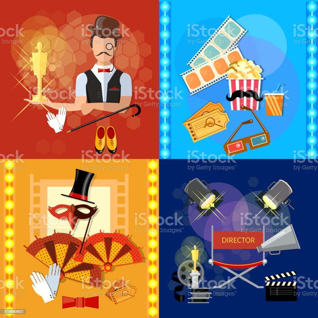Award ceremony cinema festival movie theater shooting film set vector art illustration