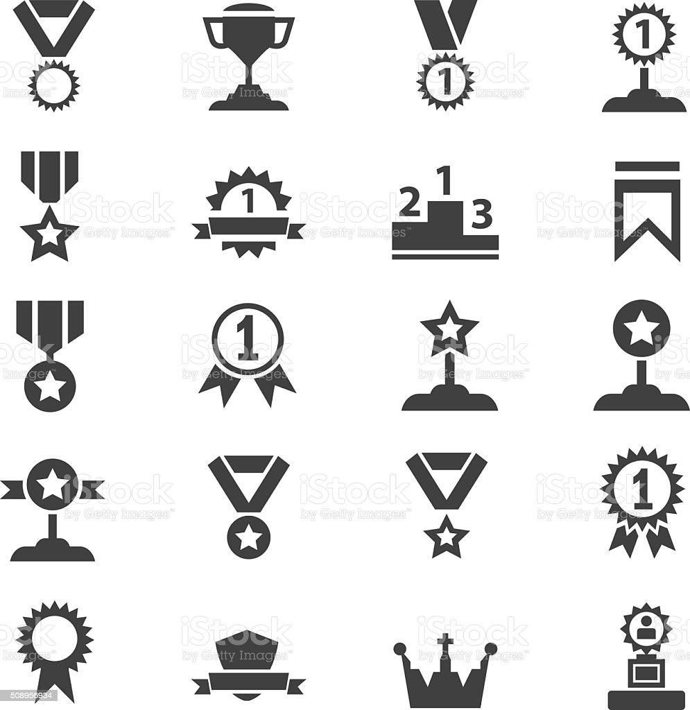Award icon set vector art illustration