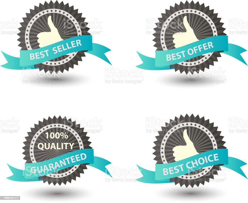 Award icons for best seller offer and choice royalty-free stock vector art
