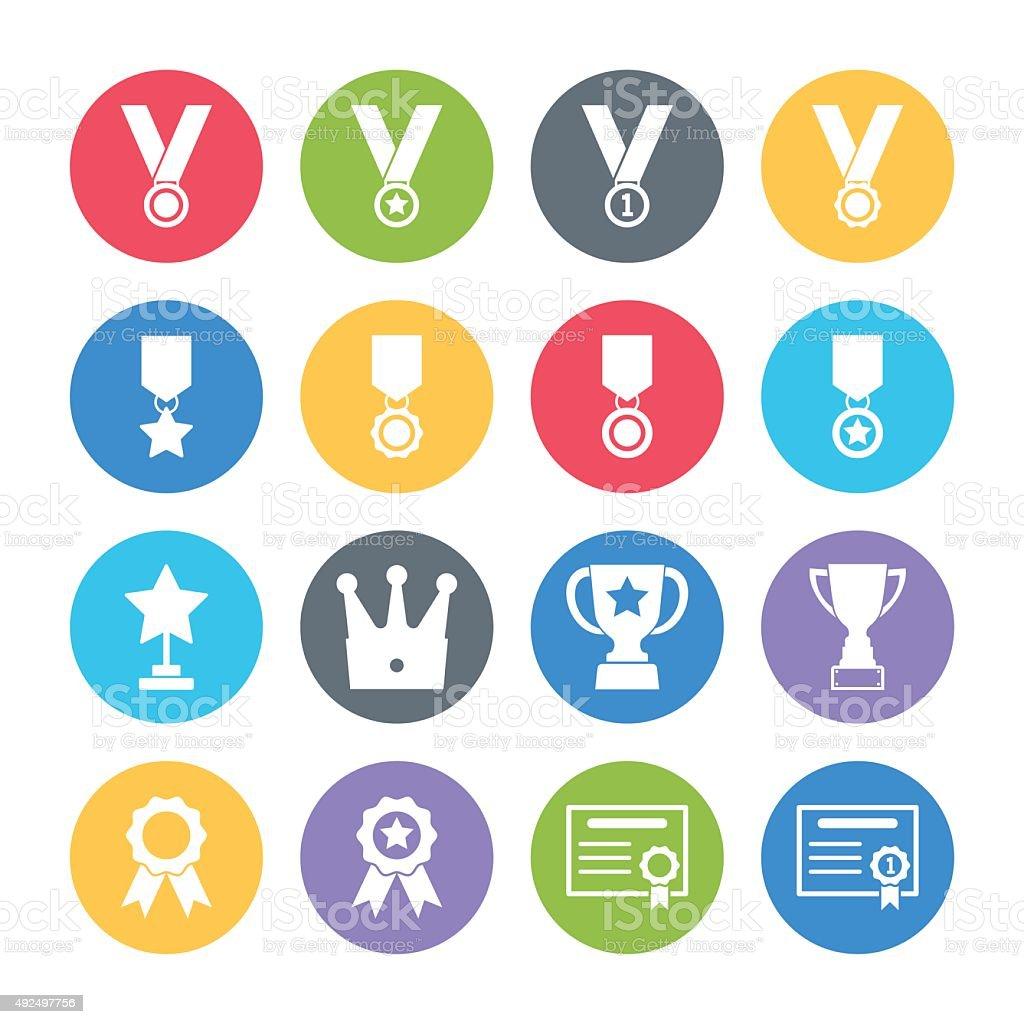 award icons set vector art illustration