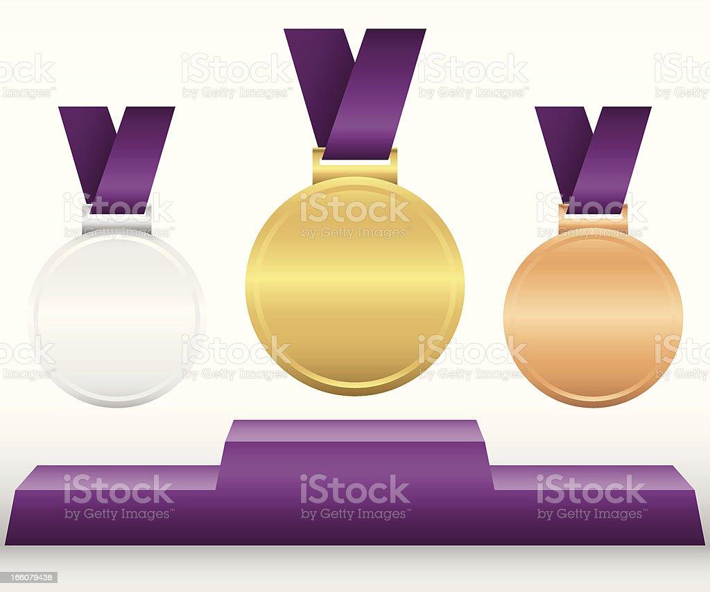 Award Medals and Podium royalty-free stock vector art