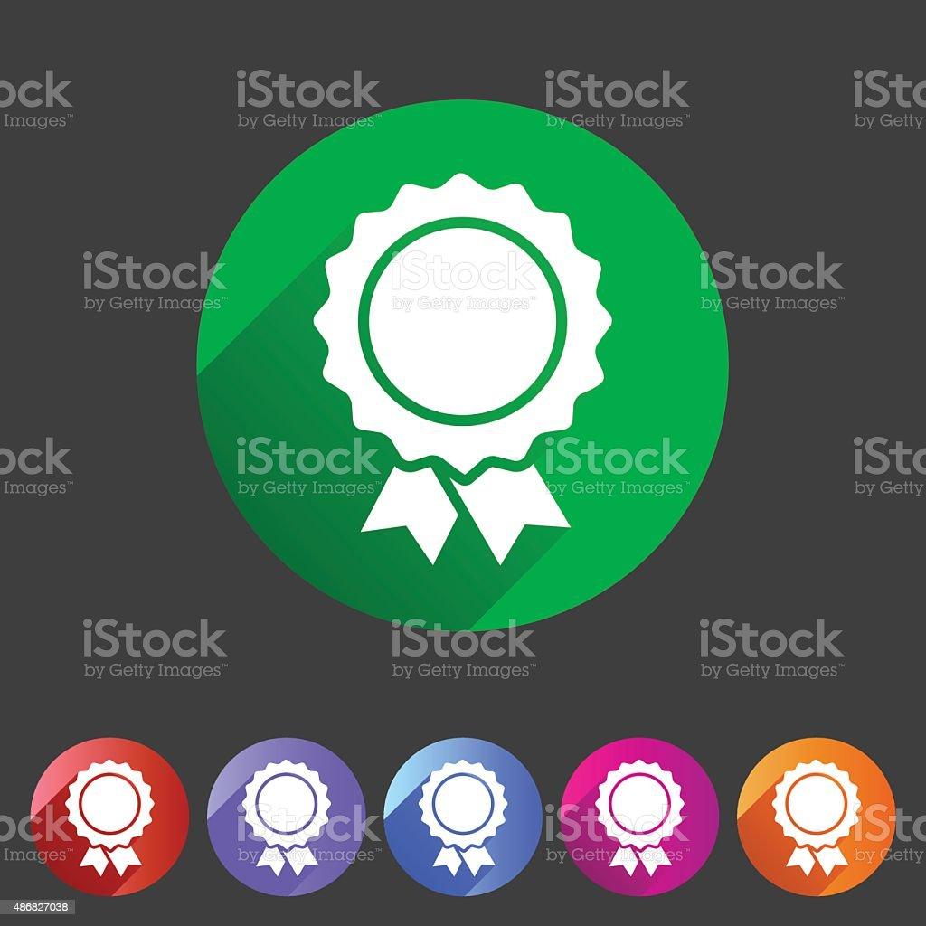 Award ribbon badge icon flat web sign symbol logo label vector art illustration