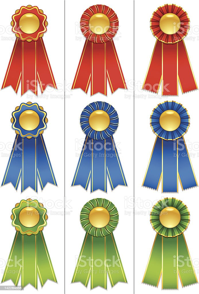 Award Ribbons - Red, Green and Blue royalty-free stock vector art