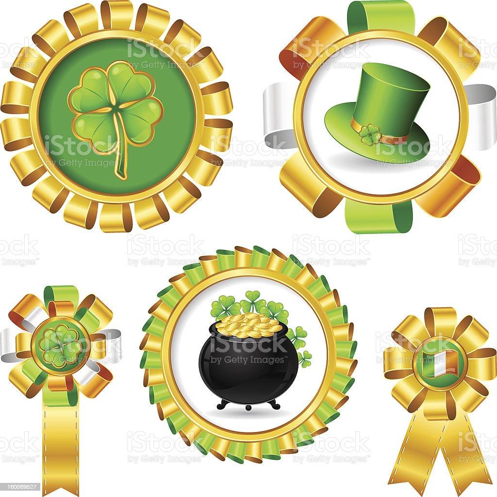 Award ribbons with Saint Patrick's day objects. stock photo