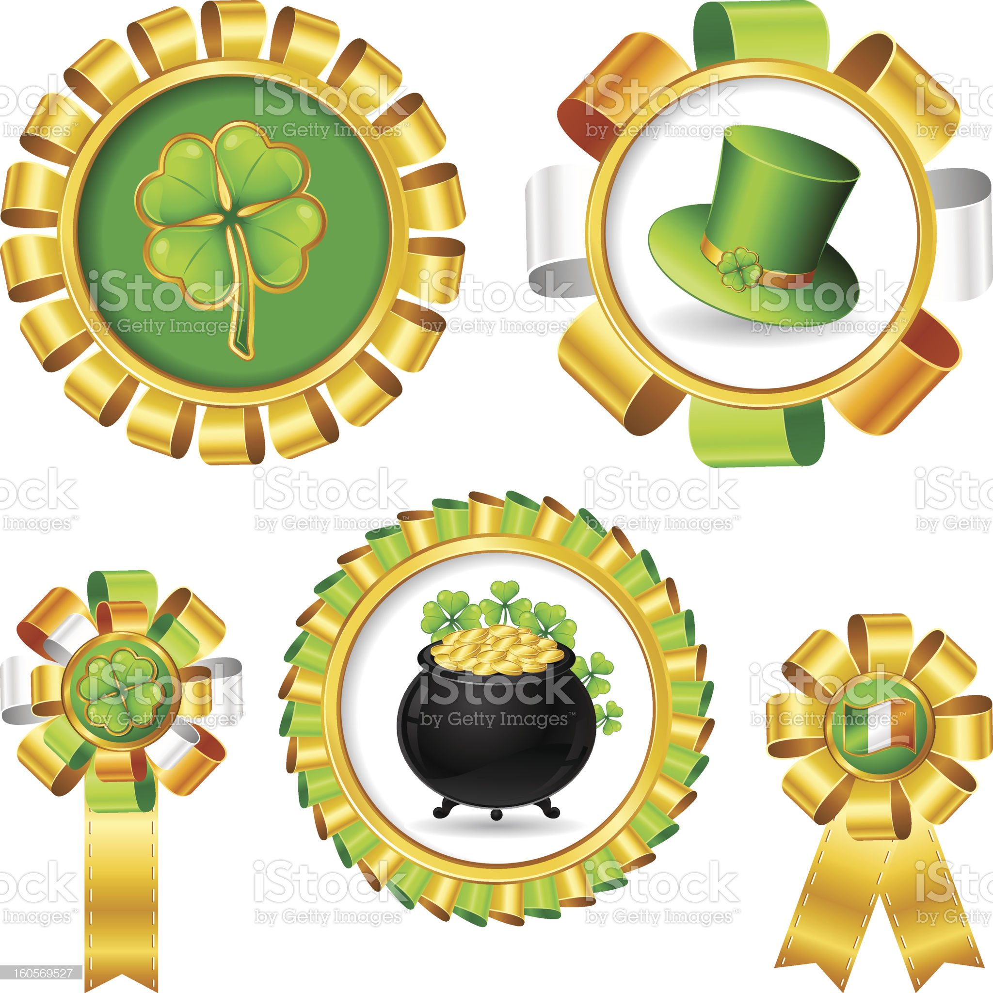 Award ribbons with Saint Patrick's day objects. royalty-free stock photo