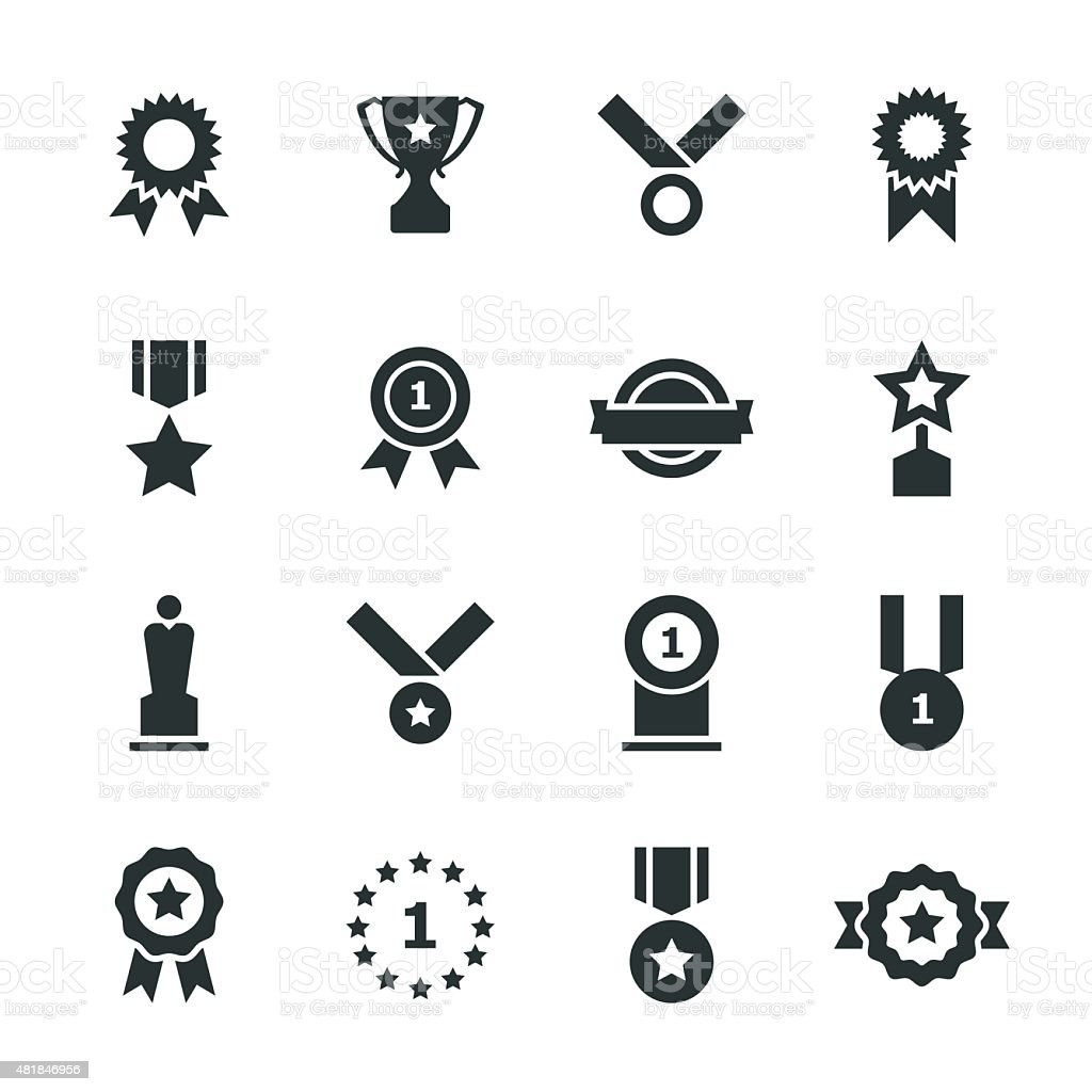 Award Silhouette Icons vector art illustration