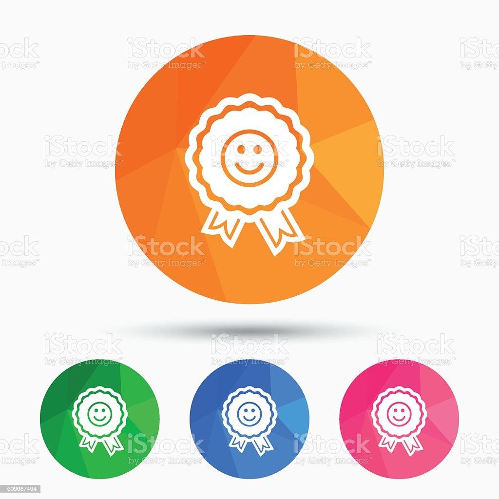 Award smile icon. Happy face symbol. vector art illustration