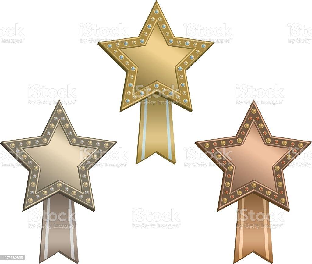Award star ribbon vector art illustration