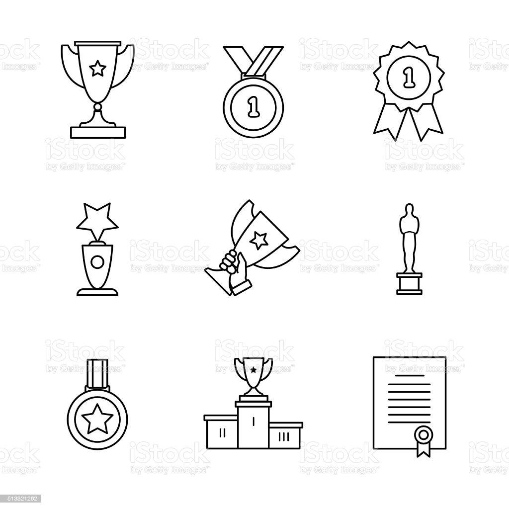 Award winner icons thin line art set vector art illustration