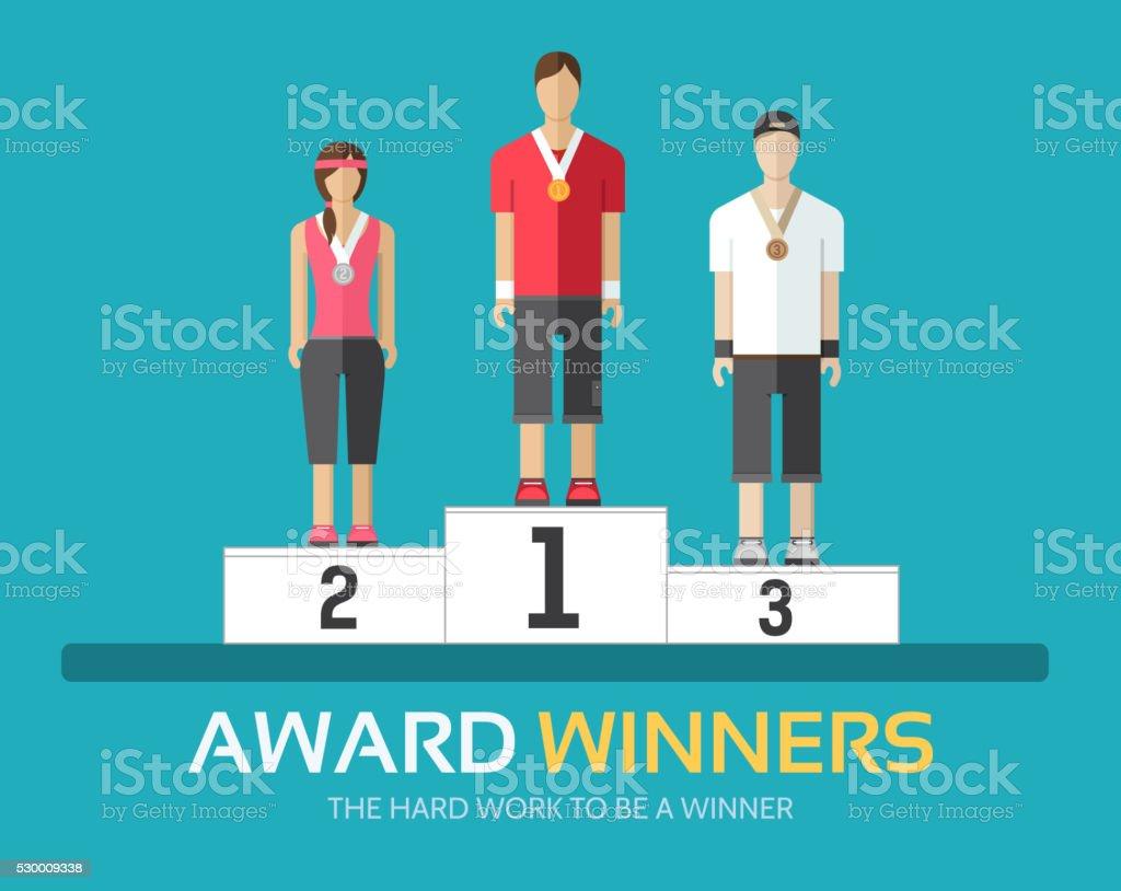 Award winners in flat design. Rewarding athletes on the podium. vector art illustration