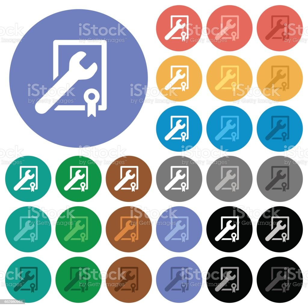 Award winning services round flat multi colored icons vector art illustration