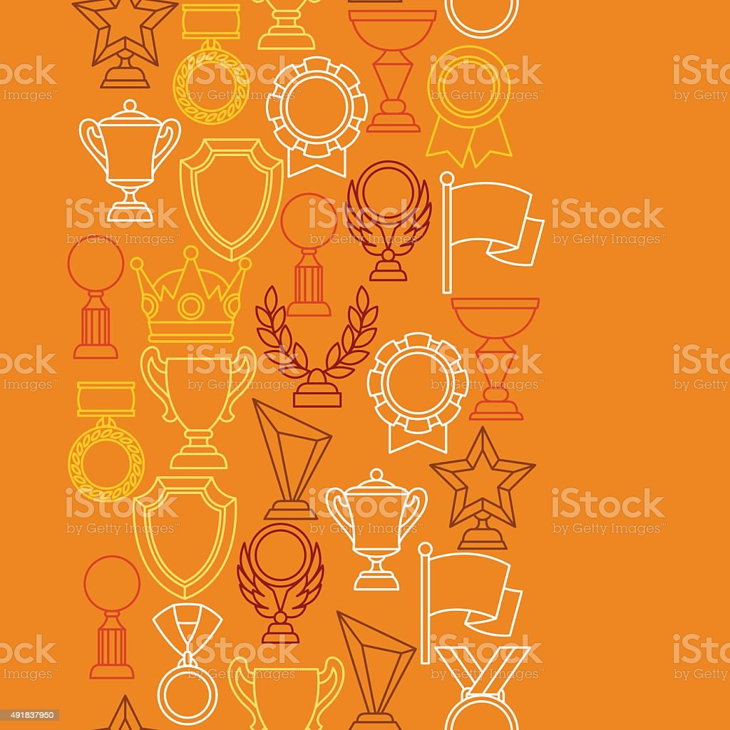 Awards and trophy sport or business line icons seamless pattern vector art illustration
