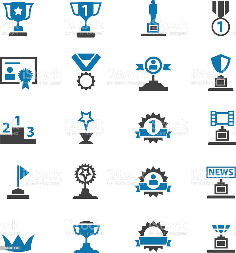 Awards icons set vector art illustration