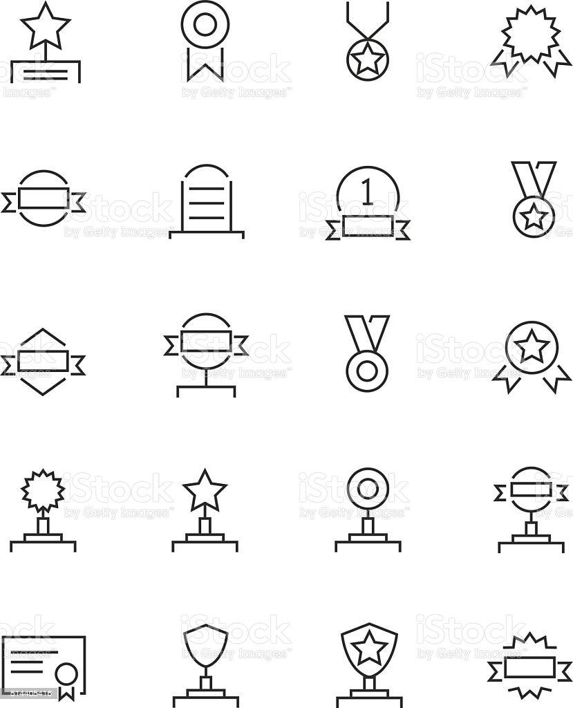 Awards icons set vector art illustration