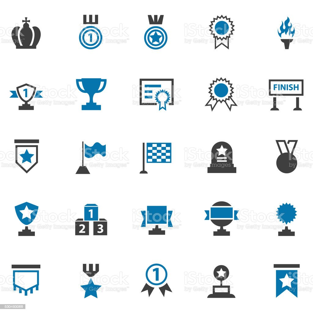 Awards lables icons set vector art illustration