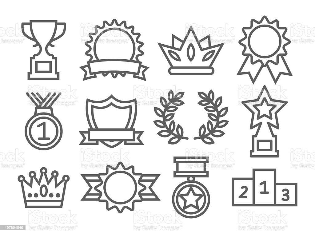Awards Line Icons vector art illustration