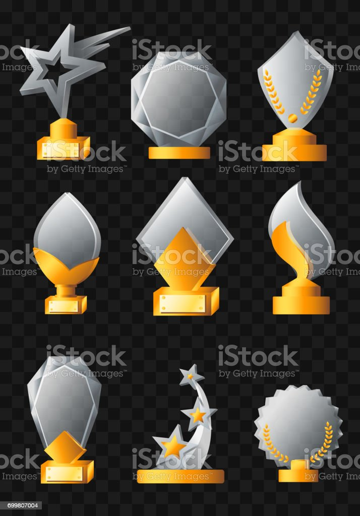 Awards - realistic vector set of trophies vector art illustration