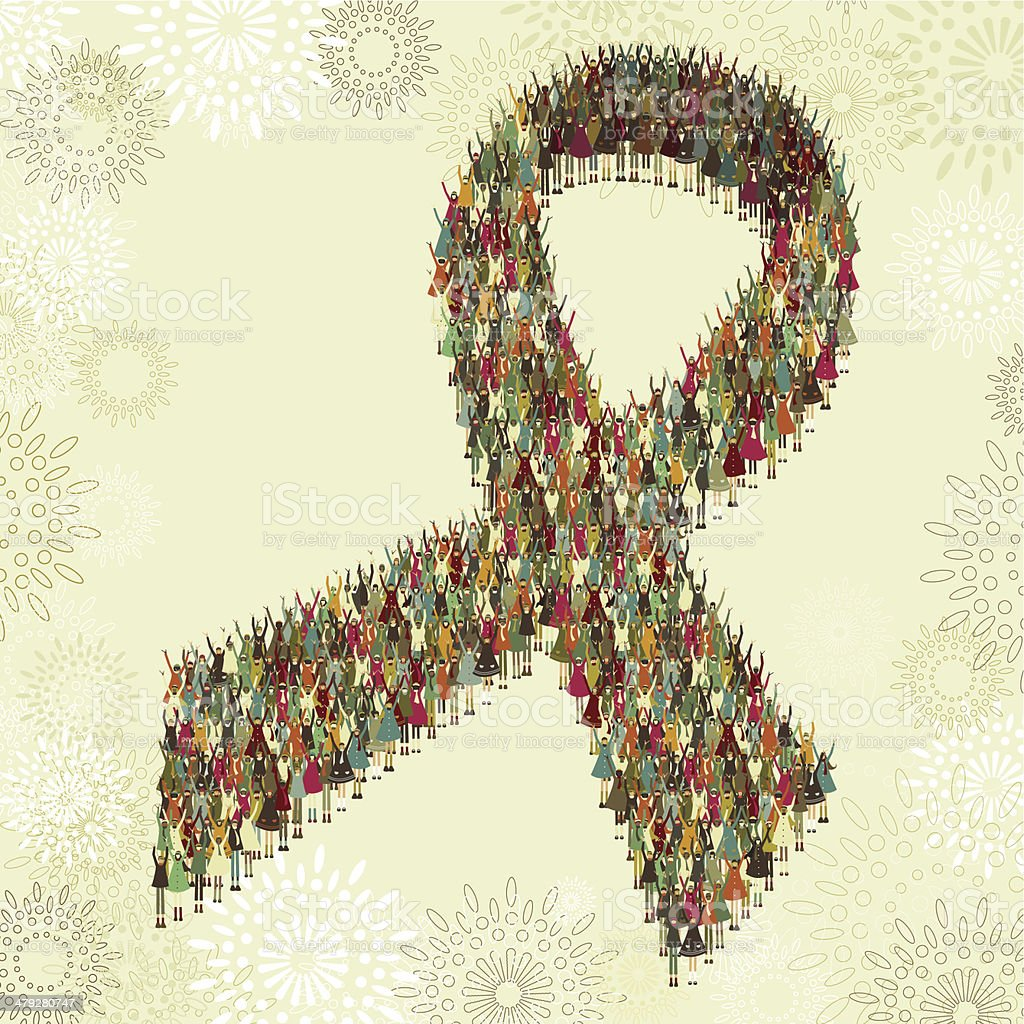 Awareness ribbon compounded by children vector art illustration