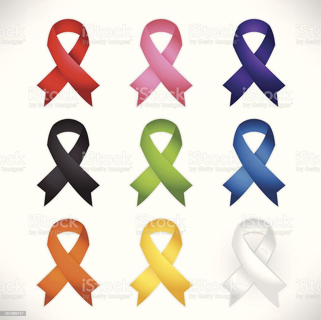 Awareness Ribbon Set vector art illustration