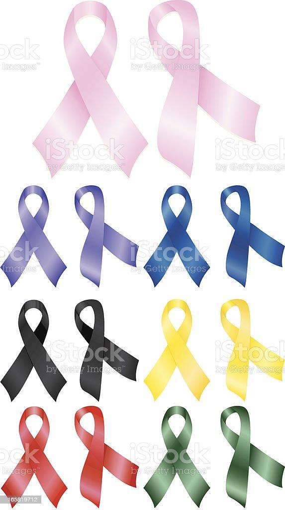 Awareness Ribbons - Pink, Purple, Blue, Yellow, Red, Black, Green royalty-free stock vector art
