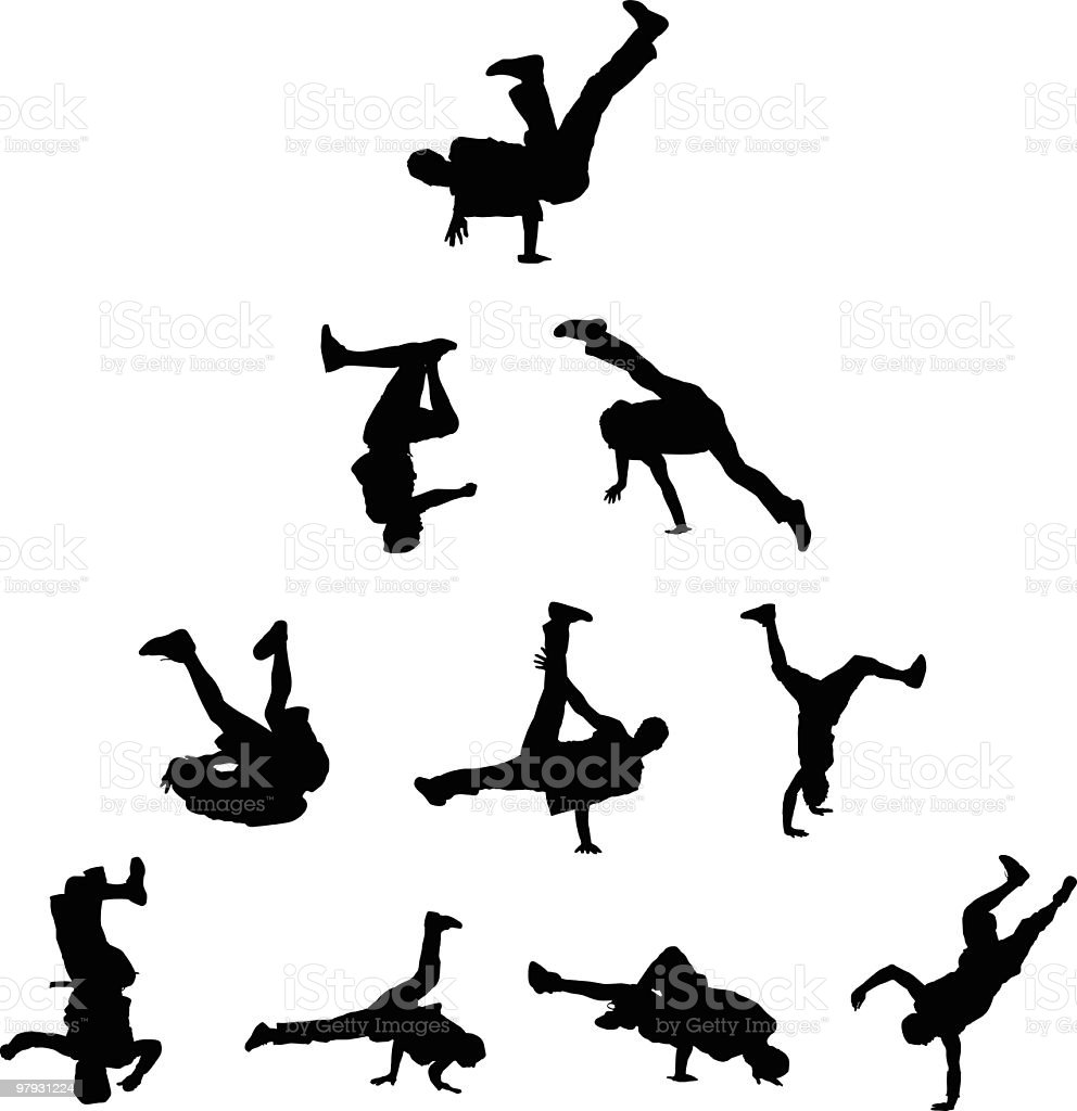 Awesome breakdancers royalty-free stock vector art