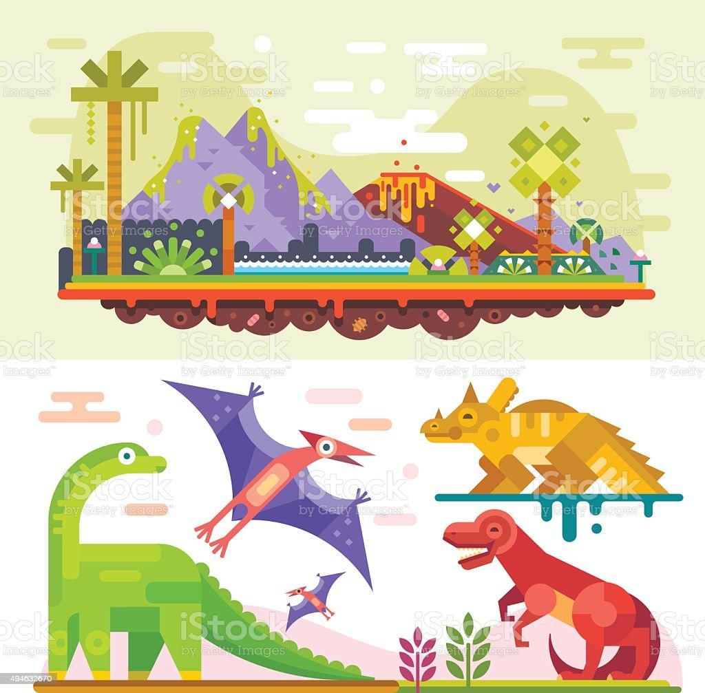 Awesome prehistoric dinosaur set. vector art illustration