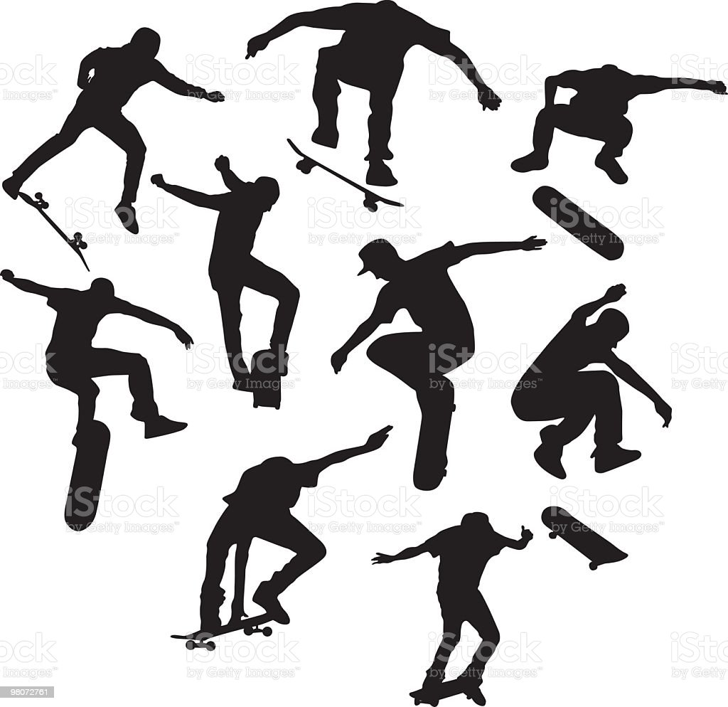 Awesome skateboarders to use in your design royalty-free stock vector art