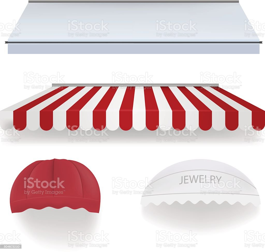 Awnings for shop vector art illustration