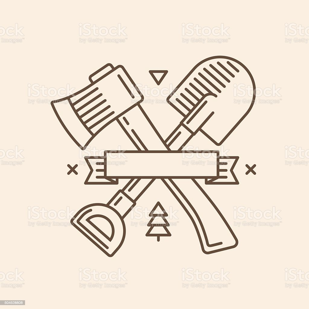 Axe and shovel emblem vector art illustration