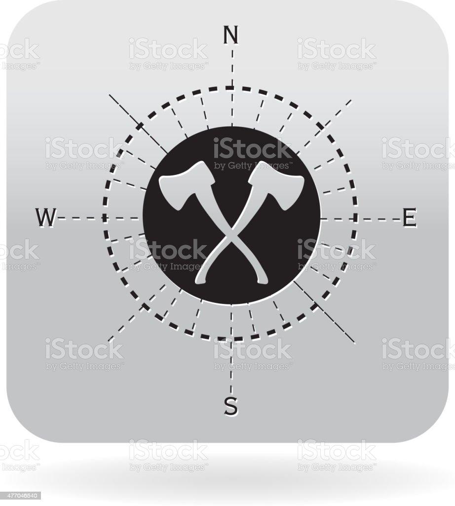 Axe compasss design icon vector art illustration