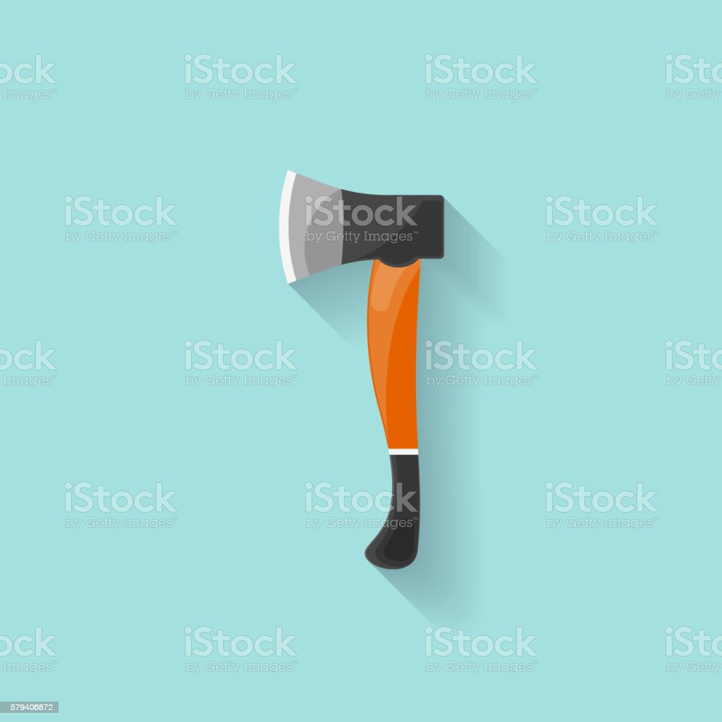 Axe in a flat style. Camping, hiking, surviving.Vector illustration. vector art illustration