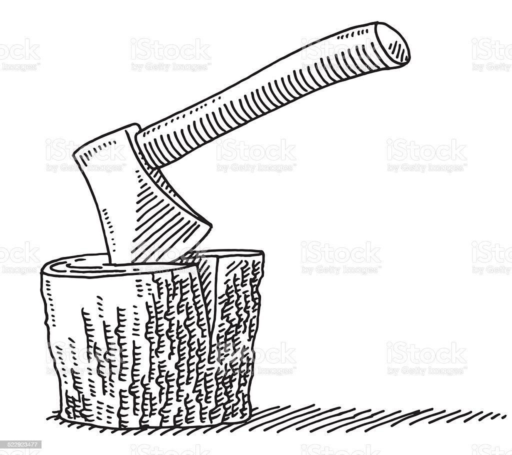 Axe In The Log Drawing vector art illustration