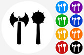 Axe  Morning Star Weapon Icon on Flat Color Circle Buttons